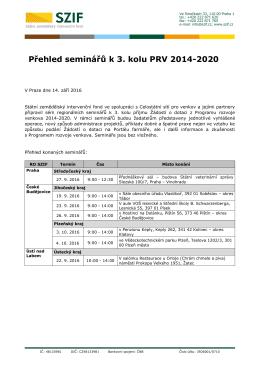 Přehled seminářů k 3. kolu příjmu Žádostí PRV 2014-2020
