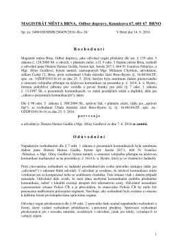 MAGISTRÁT MĚSTA BRNA, Odbor dopravy, Kounicova 67