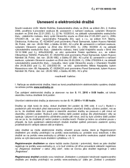Dražební vyhláška JUDr. Martina Růžičky, povinný