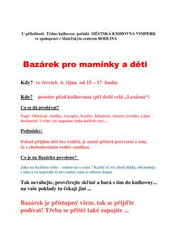Bazárek pro maminky a děti