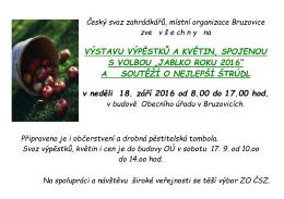 """""""JABLKO ROKU 2016"""" A SOUTĚŽÍ O NEJLEPŠÍ ŠTRÚDL v neděli 1"""