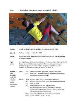 Seminář pro instruktory lezení na umělých stěnách