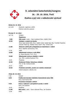 Program kongresu k 12.9.2016