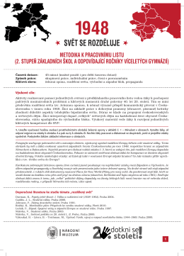 Metodický list pro ZŠ - Dotkni se 20. století!