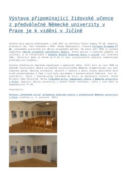 Výstava připomínající židovské učence z předválečné Německé