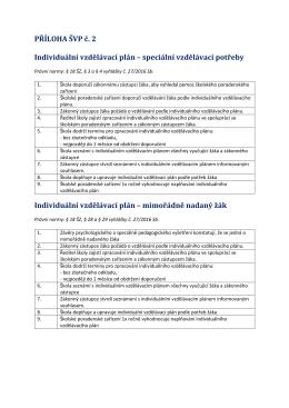 PŘÍLOHA ŠVP č. 2 Individuální vzdělávací plán – speciální