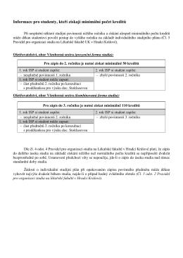 Informace pro studenty, kteří získají minimální počet kreditů