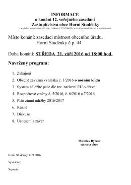 Informace o konání 12. veřejného zasedání zastupitelstva obce 21.9