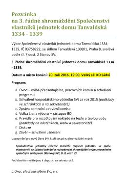 Pozvánka na 3. shromáždění SVJ