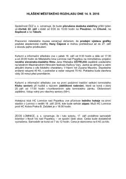 hlášení městského rozhlasu dne 14. 9. 2016