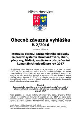 Obecně závazná vyhláška č. 2/2016, kterou se stanoví