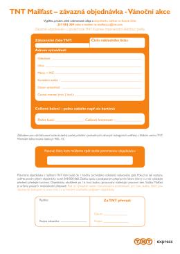 TNT Mailfast – závazná objednávka