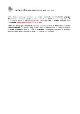 Hlášení městského rozhlasu dne 16.9.2016