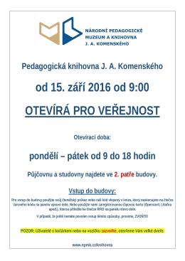 Pedagogická knihovna JA Komenského od 15. září 2016 od 9:00
