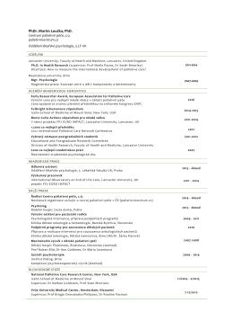 Životopis - Česká společnost paliativní medicíny