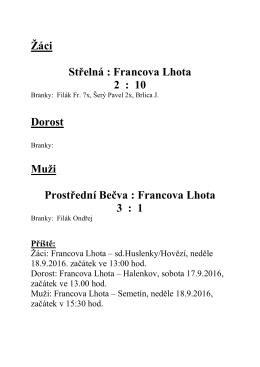 Výsledek - Francova Lhota