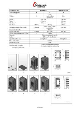 Katalogový list: AFRODITA AFRODITA mini Technický popis: 1 2 3