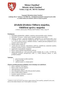 úředník/úřednice Odboru majetku, Oddělení správy