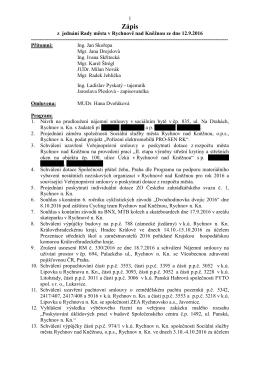 Zápis z jednání Rady města dne 12.9.2016