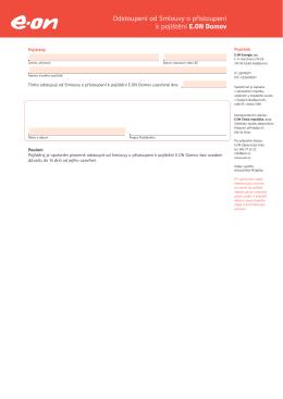 Odstoupení od Smlouvy o přistoupení k pojištění E.ON Domov