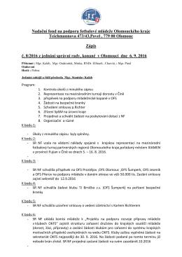 Zápis SR NF č.8 ze dne 6.9.2016