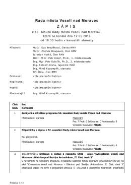 Zápis z 53. schůze RMV