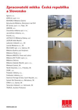 Zpracovatelé mléka Česká republika a Slovensko