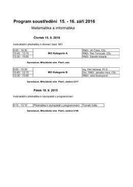 Program soustředění 15. - 16. září 2016