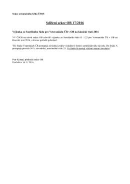 Sdělení sekce OB 17/2016