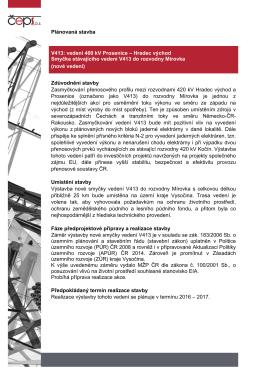 Plánovaná stavba V413: vedení 400 kV Prosenice – Hradec východ
