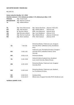 MATURITNÍ ZKOUŠKY PODZIM 2016 4.C, 4. D, 4. L Datum maturitní