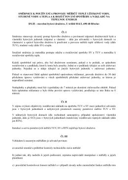 Směrnice k používání a provozu měřičů TUV, SV a tepla a k
