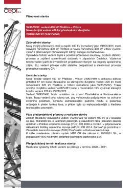 Plánovaná stavba V490/V491: vedení 400 kV Přeštice – Vítkov Nové