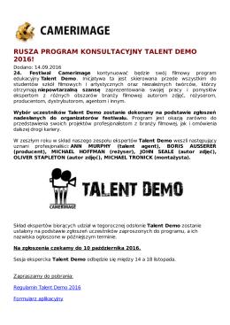 rusza program konsultacyjny talent demo 2016!