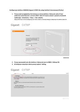 Instrukcja telefonu IP SIEMENCE GIGASET C470IP