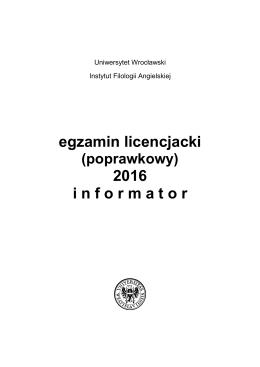 Informator 2016 (plik ) - Instytut Filologii Angielskiej