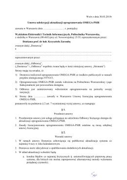 propozycja umowy subskrypcji aktualizacji - Omega-PSIR