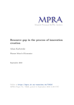 Resource gap in the process of innovation creation