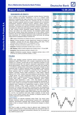 Raport dzienny - Biuro Maklerskie Deutsche Bank Polska
