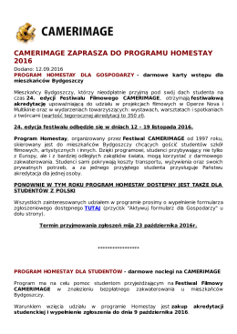 CAMERIMAGE ZAPRASZA DO PROGRAMU HOMESTAY 2016