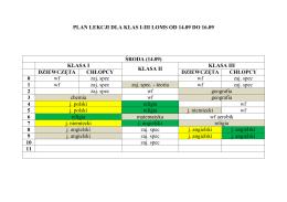 Plan lekcji od środy do piątku dla klas I-III