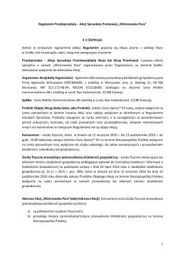 1 Regulamin Przedsprzedaży – Akcji Sprzedaży