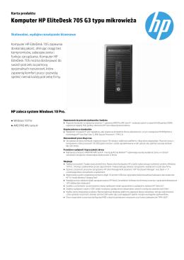 Komputer HP EliteDesk 705 G3 typu mikrowieża