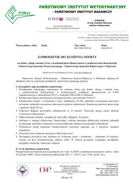 państwowy instytut weterynaryjny - Zamówienia Publiczne PIWet-PIB
