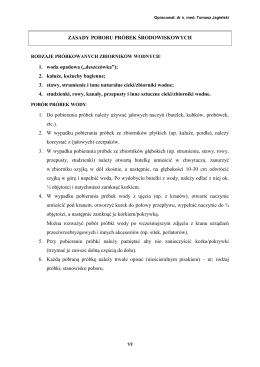 ZASADY POBORU PRÓBEK ŚRODOWISKOWYCH 1. woda