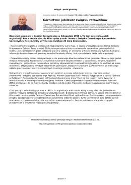 nettg.pl: Górnictwo: jubileusz związku ratowników