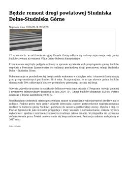 Będzie remont drogi powiatowej Studniska Dolne
