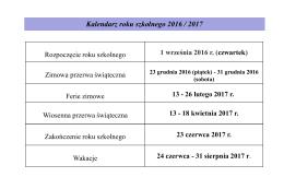 Kalendarz roku szkolnego 2016/2017
