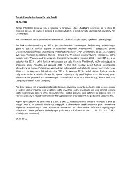 Temat: Powołanie członka Zarządu Spółki RB 56/2016