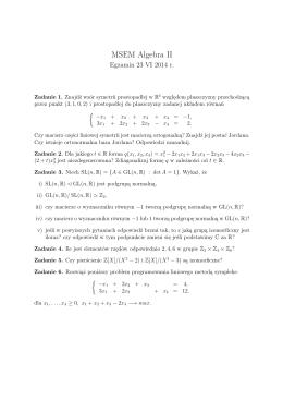 Egzamin Algebra II, czerwiec 2014